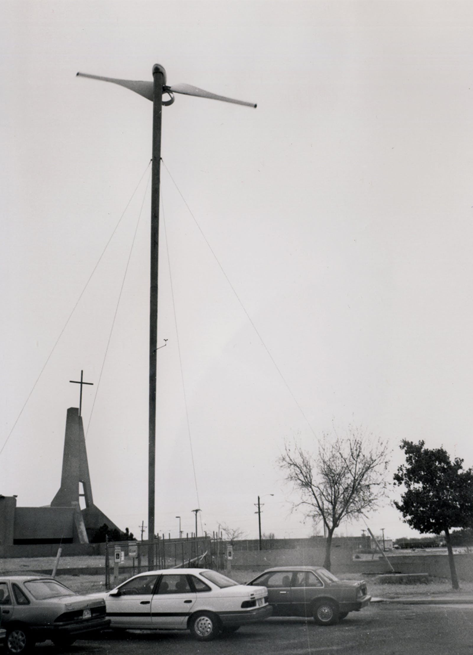 One of St. John Neumann Catholic Church's turbines in Lubbock, circa 1993.
