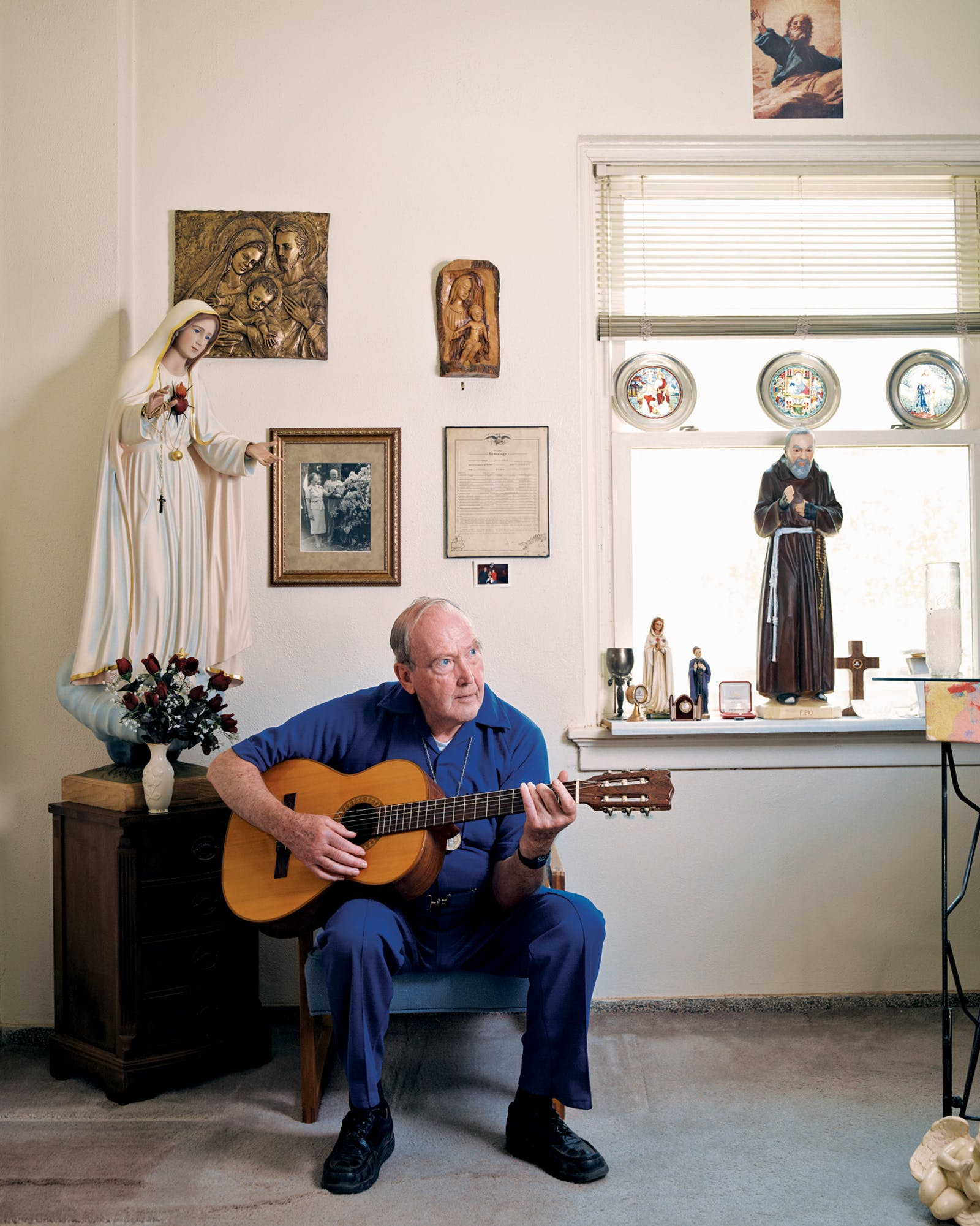 Father Joe James in his office at Mercy Retreat Center, in Slaton, on June 28, 2011.