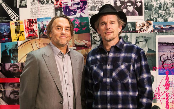Linklater and Ethen Hawk at exhibit in Paris