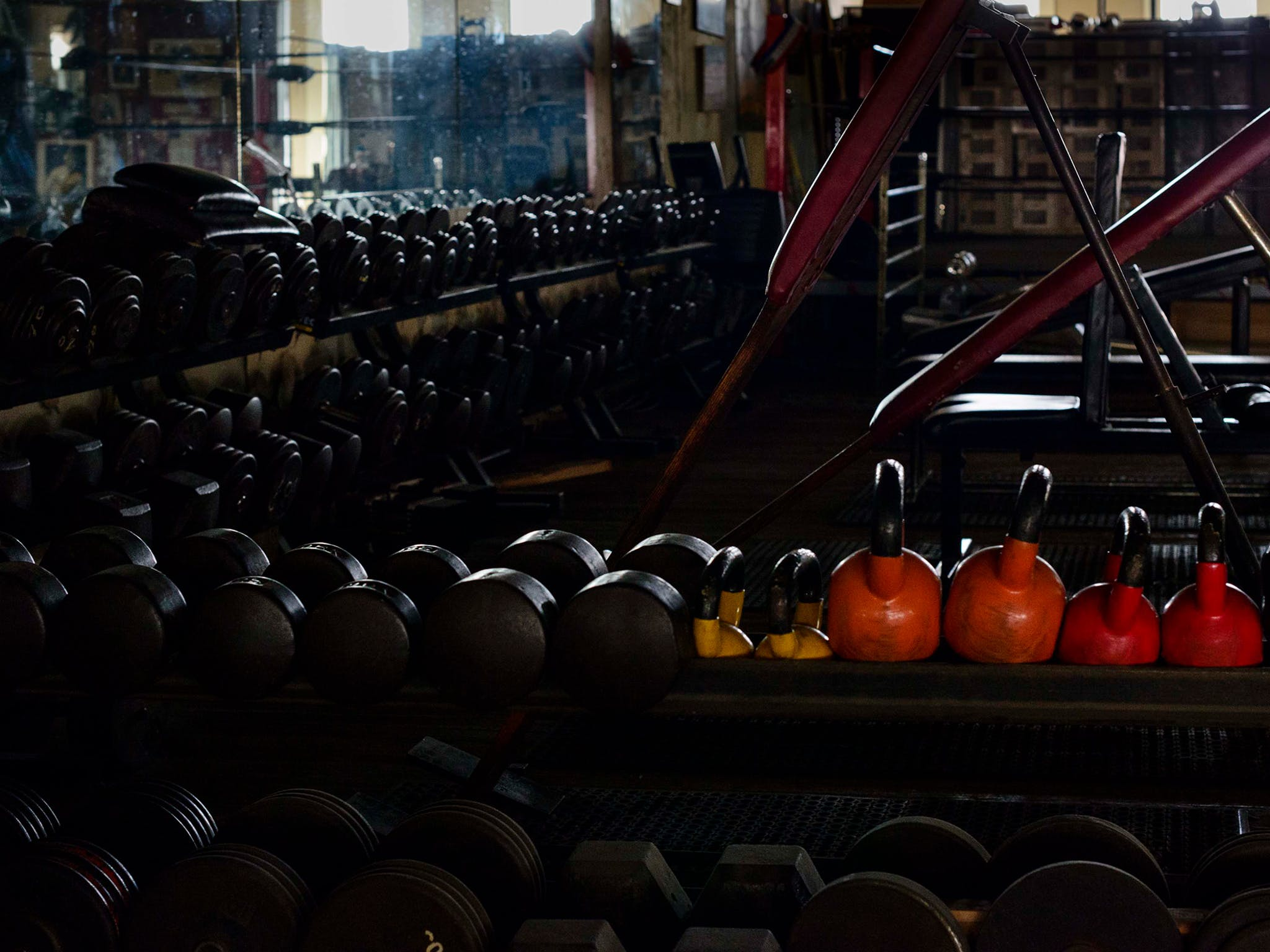 Compared to today's bright, spare, high-tech gyms christened with Internet start-ups names like Telos and Paradigm, Doug's was positively medieval: Nothing white, nothing plastic; all leather, wood, and aged metal. This picture of a small sea of dumbbells hints at just how much weight was on the floor—12,000 to 15,000 pounds, by Eidd's estimate. The light on those candy-colored kettlebells hits like a neon motel sign on a dark, lonely road.