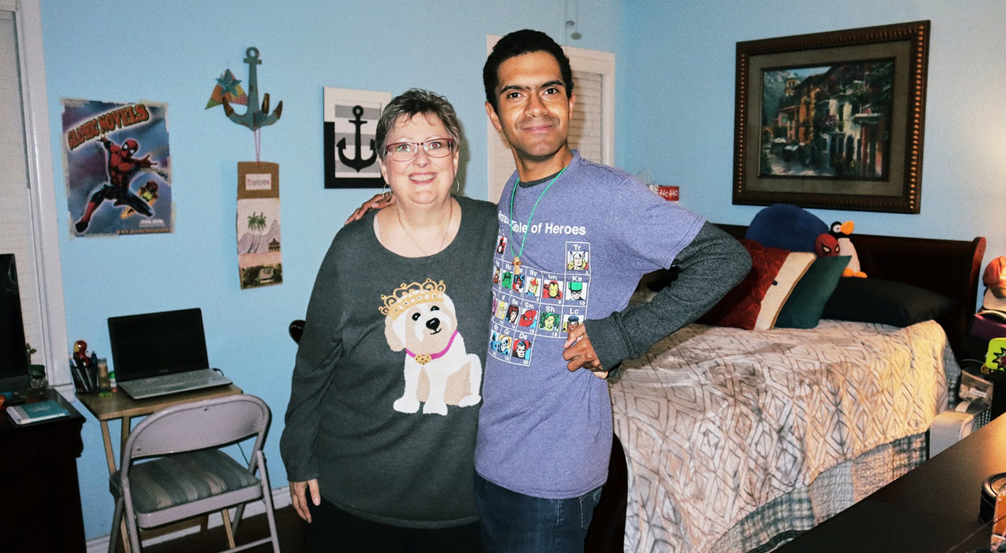 Michell Girard and Chris Barrington in his new room at her home on December 20, 2019.