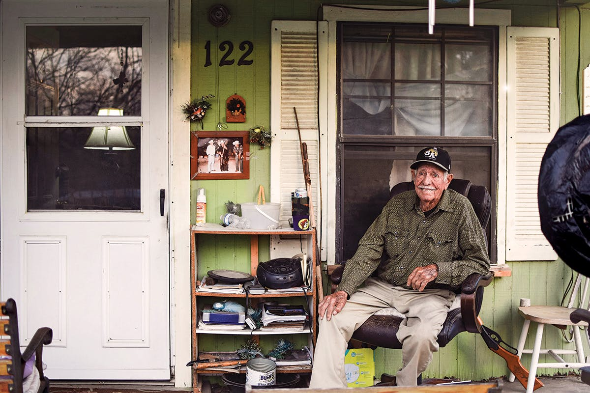 Peña on his porch in his San Antonio home, 2018