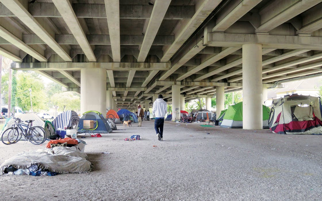 A homeless encampment near downtown Houston, Texas.