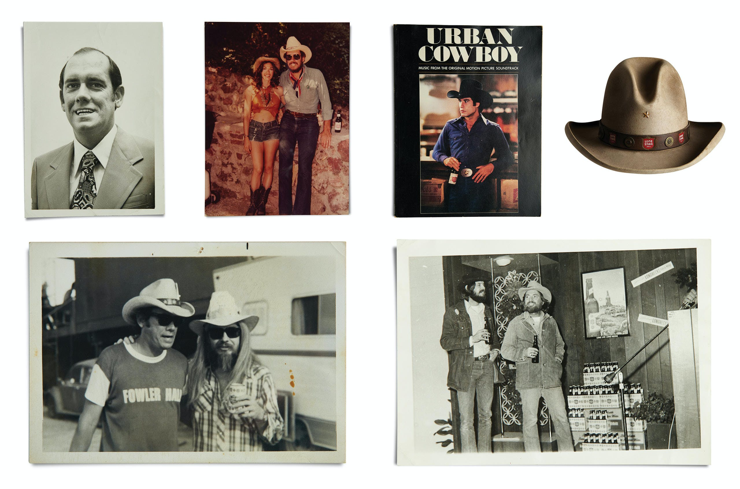 Left to right: Retzloff in 1973 as a district manager; Retzloff photographed six years later with Playboy model Barbi Benton; an Urban Cowboy songbook; the Lone Star Dude hat designed by Manny Gammage; Retzloff and Leon Russell at Willie's picnic in 1974; and Willie at one of several Lone Star sales meetings where he performed.