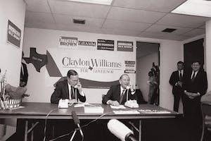 president George H.W Bush and Clayton Williams days before gubernational