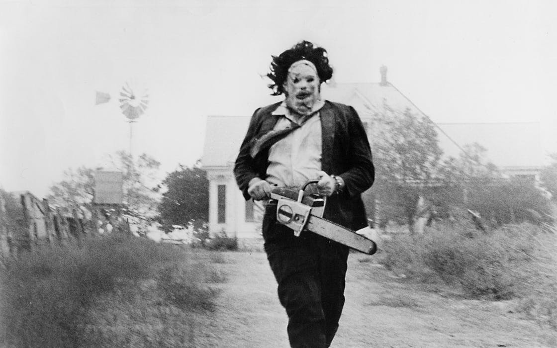 Gunnar Hansen in Tobe Hooper's The Texas Chainsaw Massacre (1974).