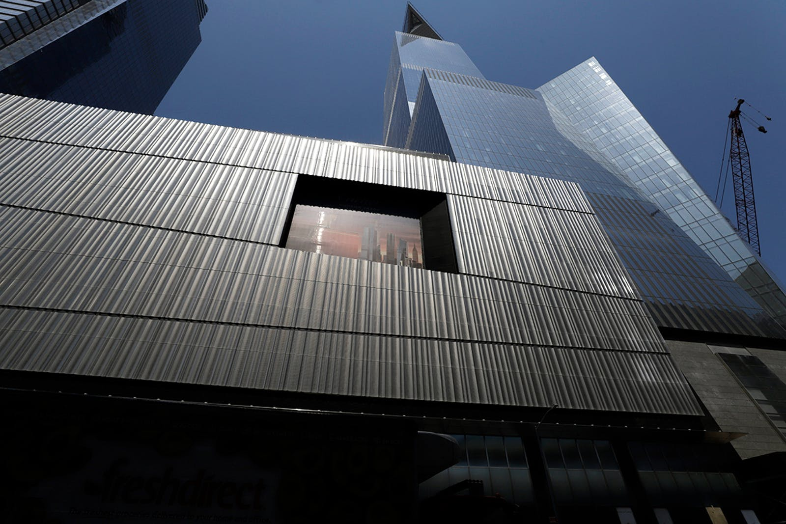 This is the Neiman-Marcus facade, lower left, of the Hudson Yards development in New York City on July 28, 2019. (AP Photo/Gene J. Puskar)