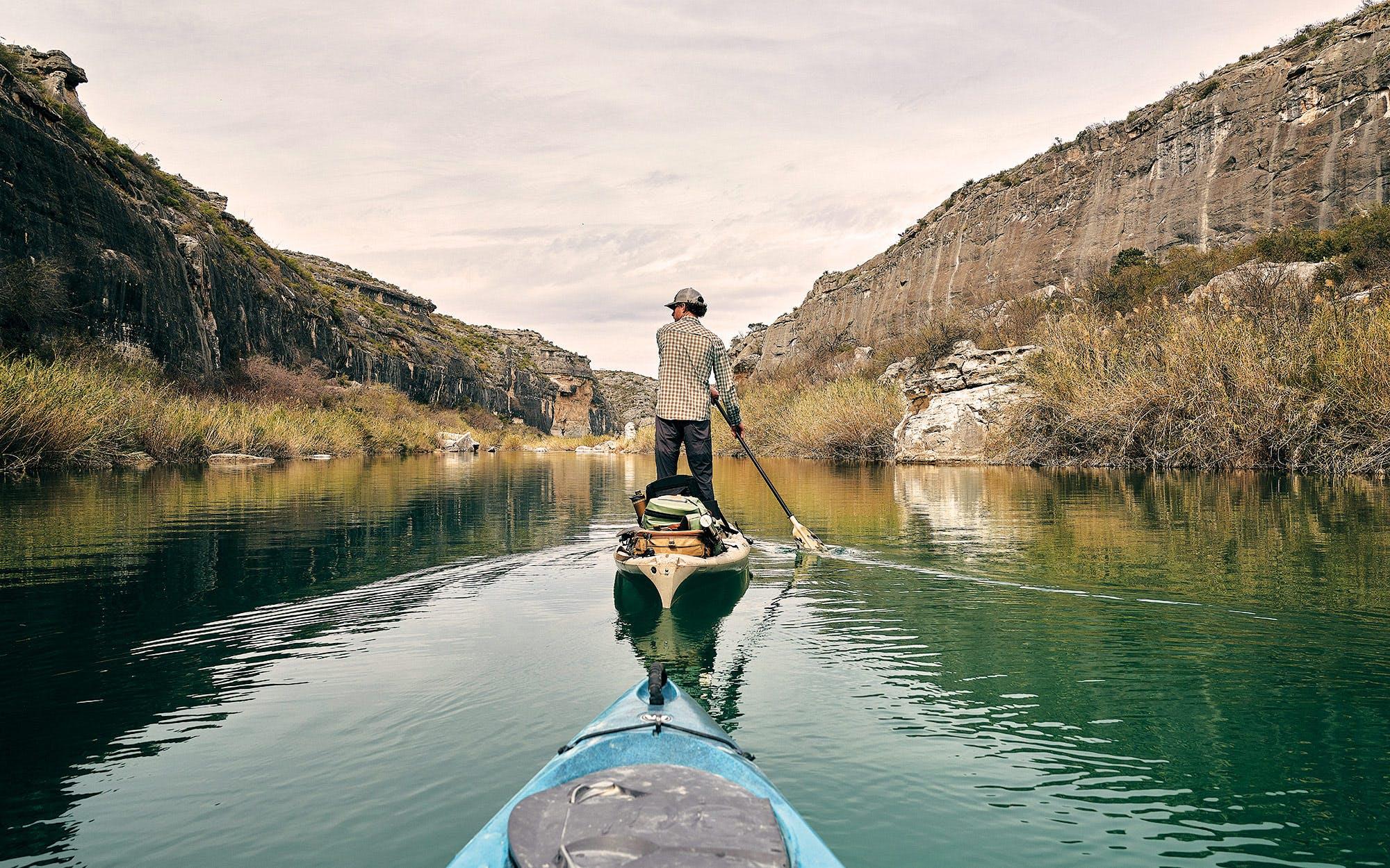 Donovan Kypke kayaking on the lower Pecos River.