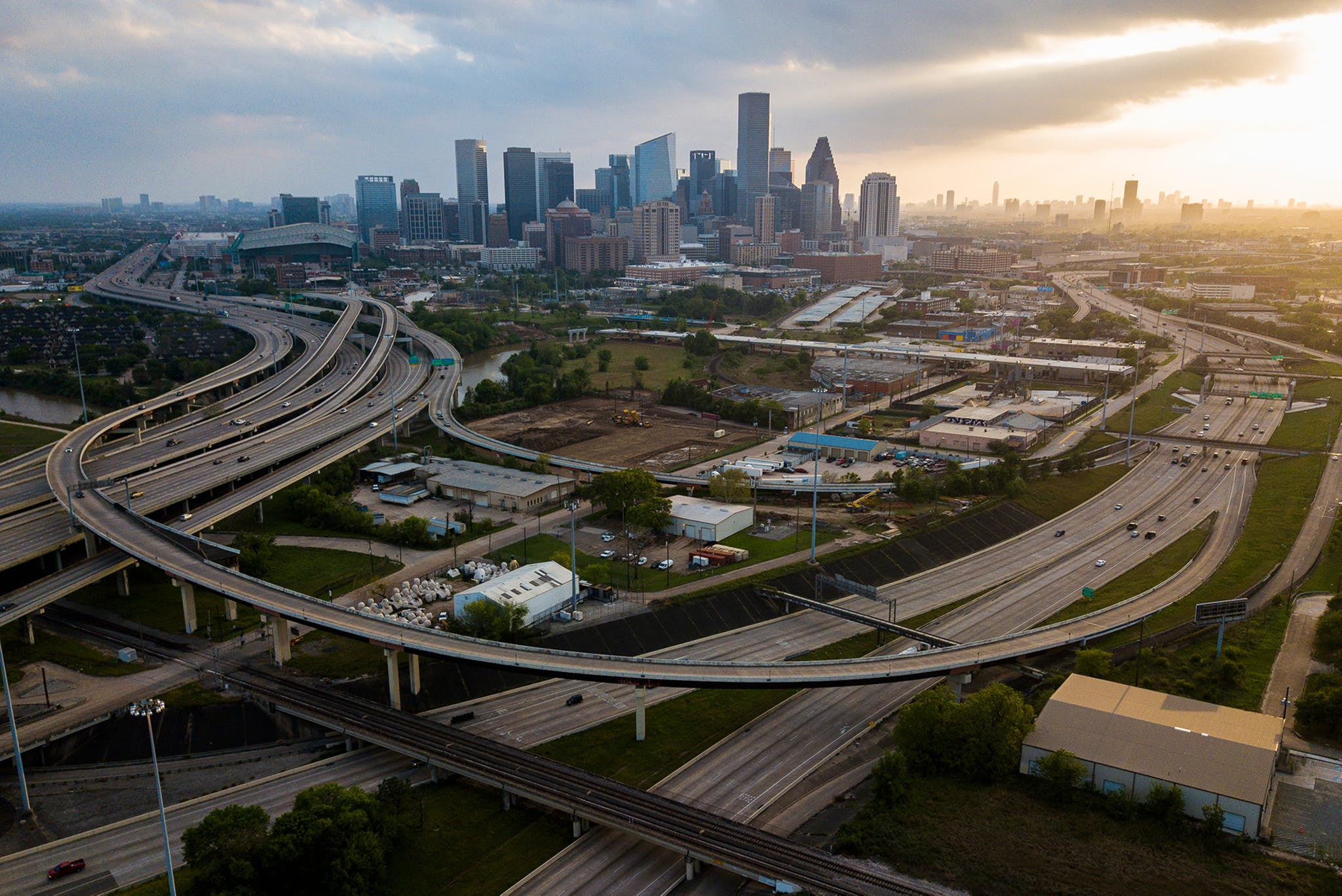 After Houston and Harris County officials issued a stay-at-home order, the typically traffic-choked downtown high-ways were mostly empty.