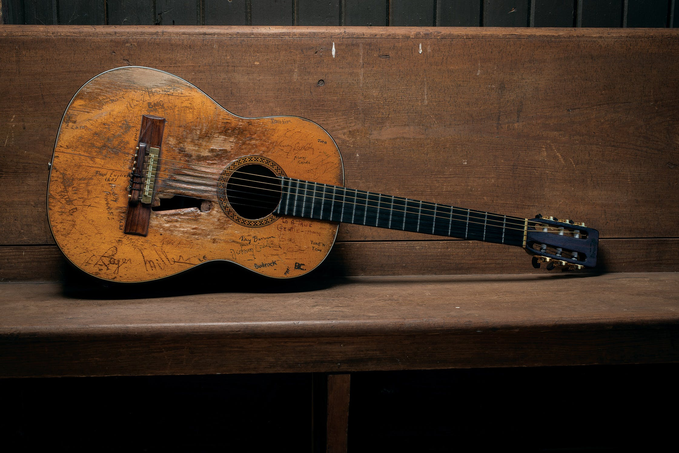 Nelson's longtime guitar, Trigger, photographed at Nelson's ranch.