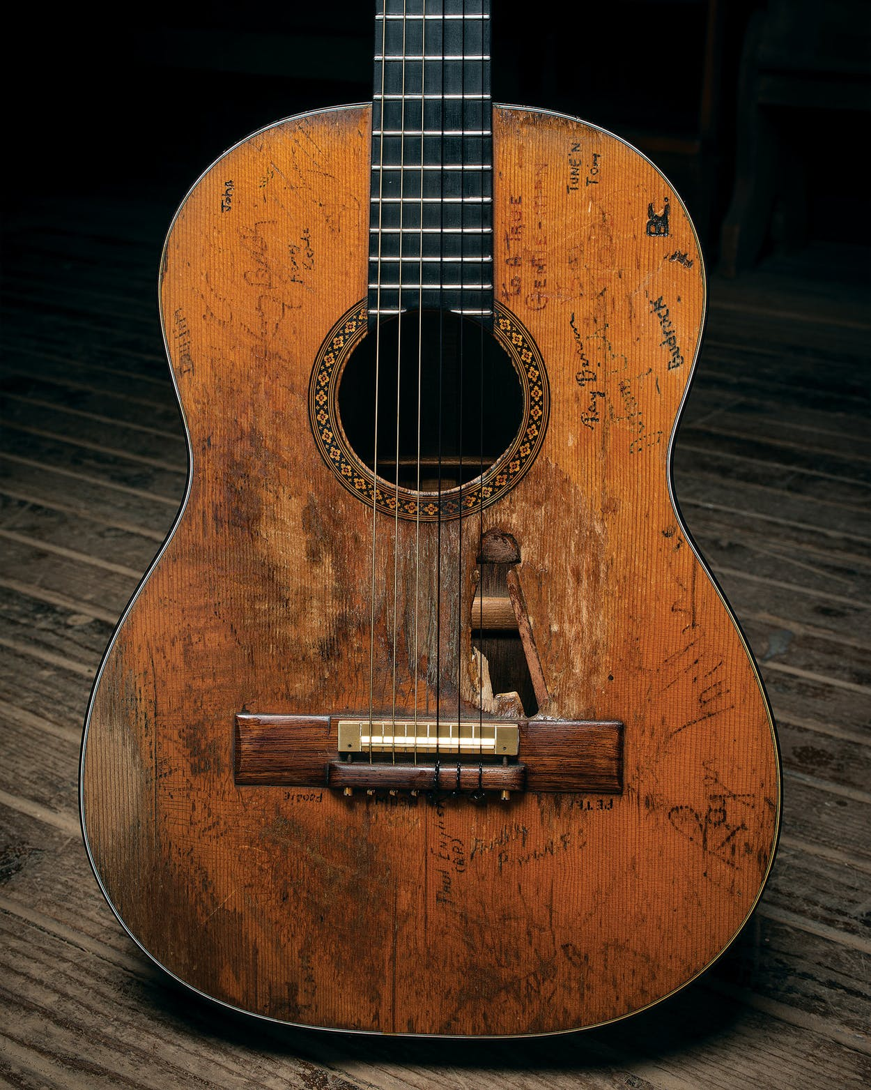 Willie Nelson's longtime guitar, Trigger, photographed at Nelson's ranch.