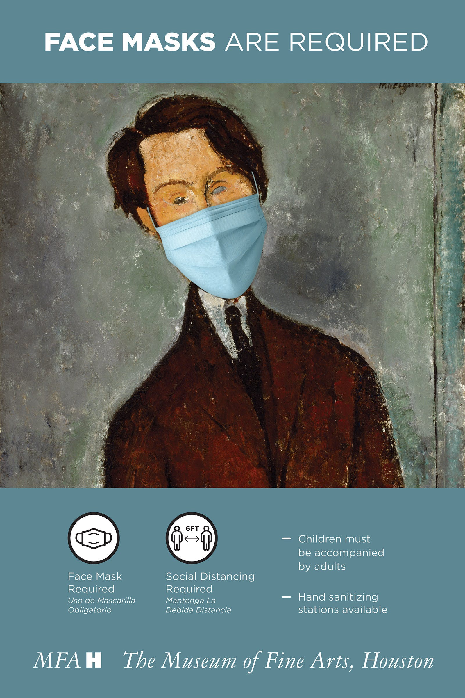graphic signature, which features Amedeo Modigliani's Léopold Zborowski in a mask.