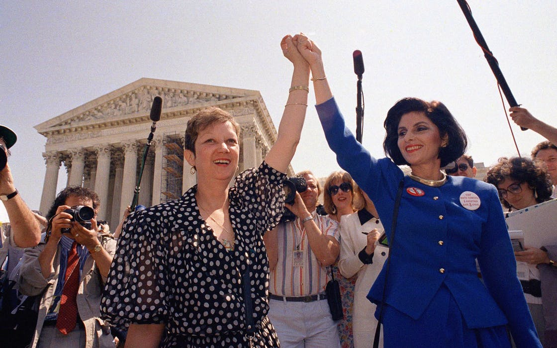 Norma McCorvey and Jane Roe outside of Supreme Court Building