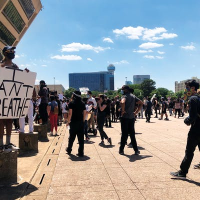 Protesters demonstrate in Dallas on May 30, 2020.