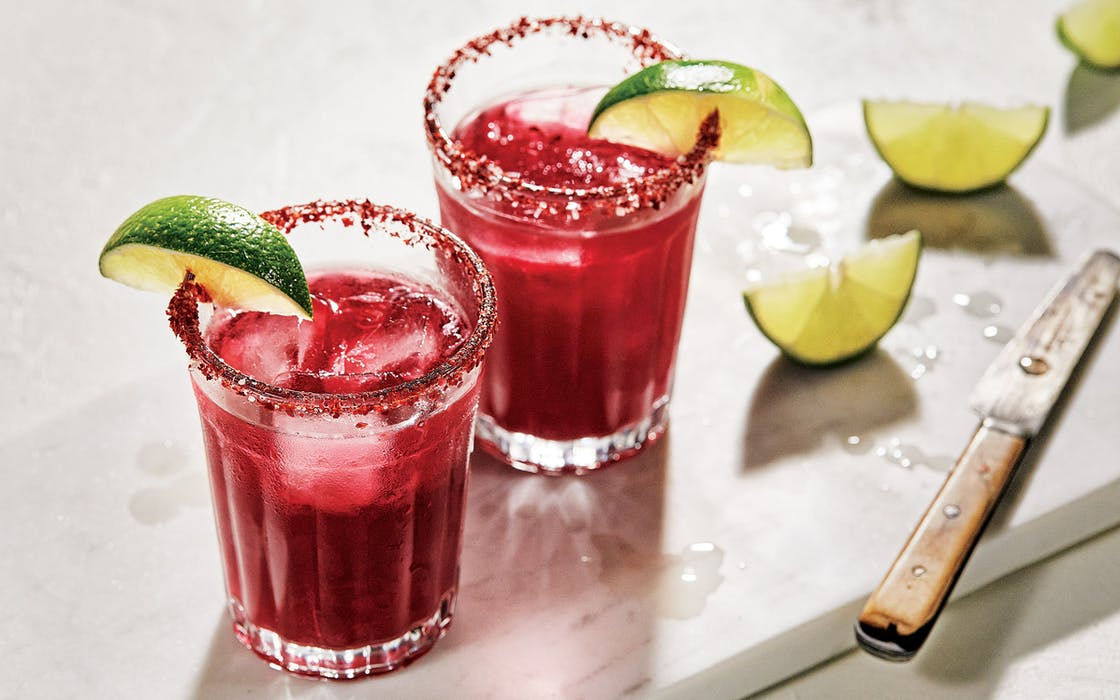Hibiscus Margaritas from Cooking in Marfa by Virginia Lebermann and Rocky Barnette.