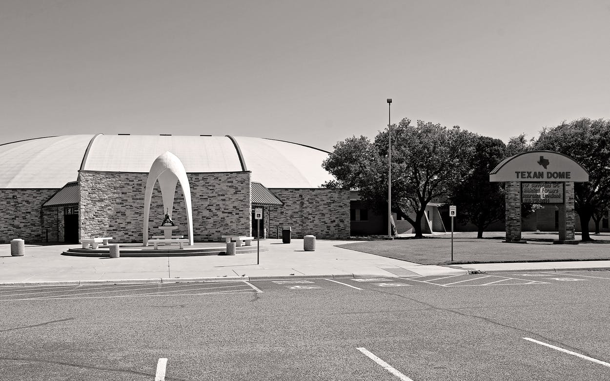 The exterior of the Texan Dome at South Plains College in Levelland on May 9, 2020.