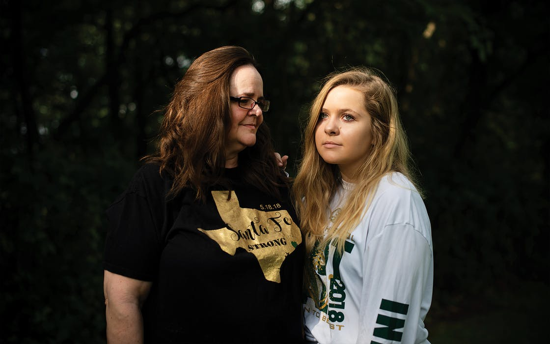 Deedra and Isabelle Laymance outside their home in Santa Fe on May 11, 2020.