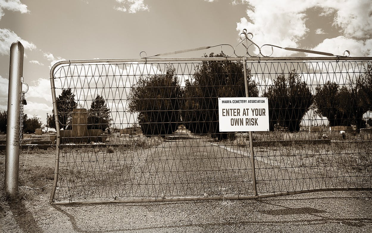 Sign in marfa cemetery.