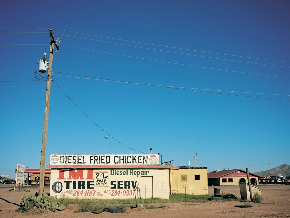 "The ""Diesel Fried Chicken"" sign that once topped a tire shop in Van Horn."