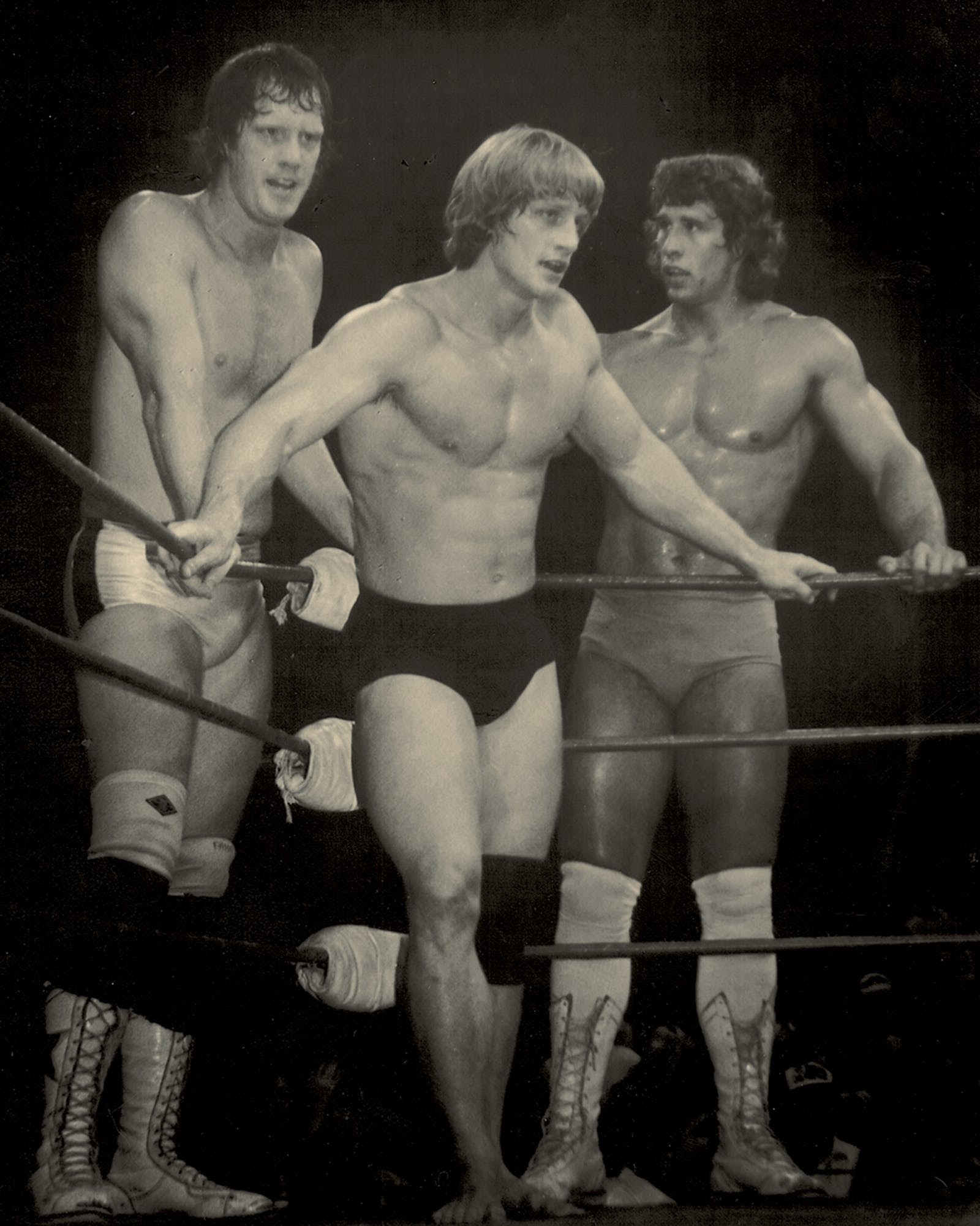 KINGS OF THE RING | From left, David, Kevin, and Kerry at a 1983 tag-team bout in St. Louis.