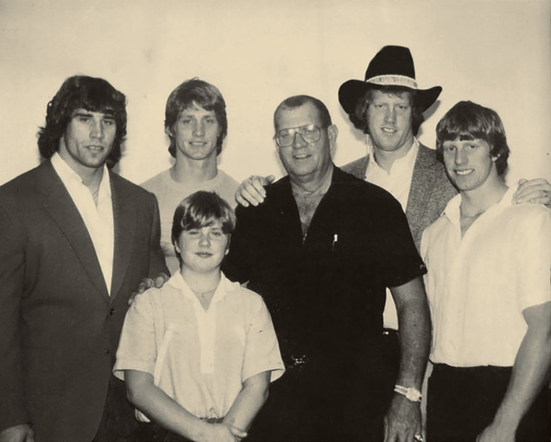 The Von Erich men––Kerry, Kevin, Chris (in front), Fritz, David, and Mike––on Thanksgiving Day in 1983.
