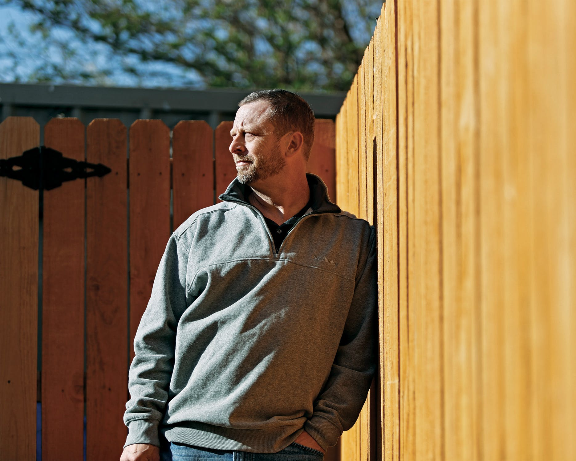 Billy Scroggins outside his home in Vega, on May 8, 2020.