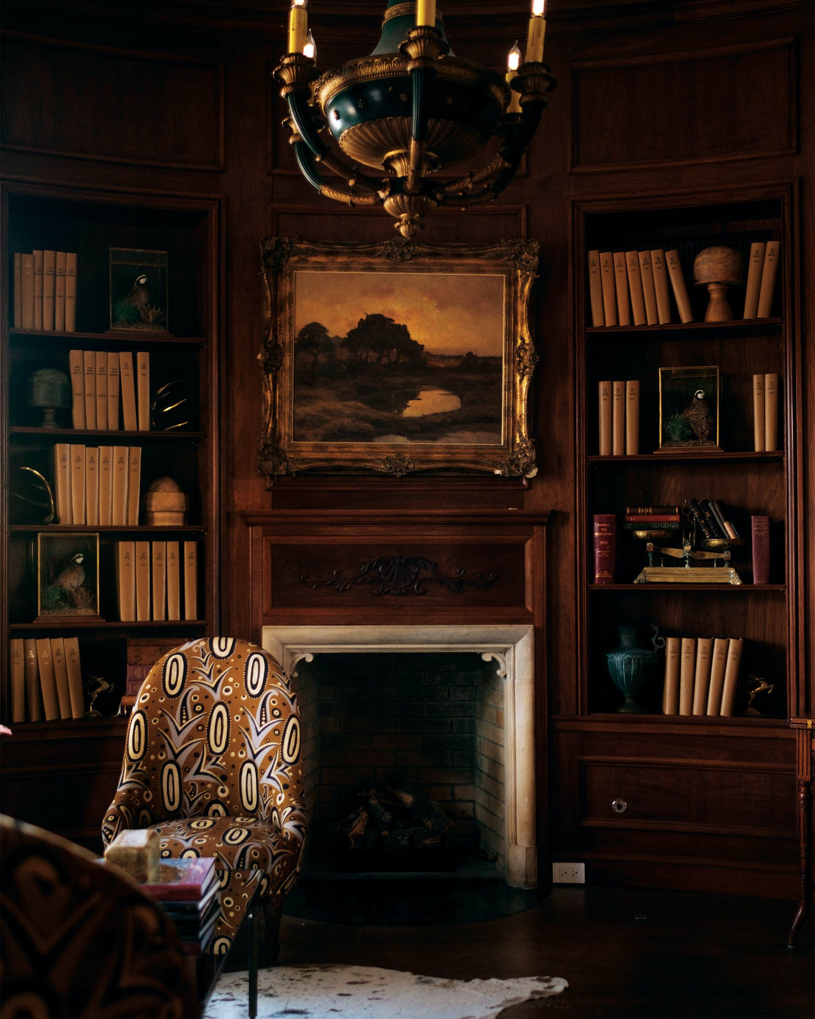 It would be easy to believe the book-lined shelves have been there all this time, but they were curated by Fulk to include a mix of Texan- and European-inspired titles that might have delighted the estate's original owners, who were avid travelers.