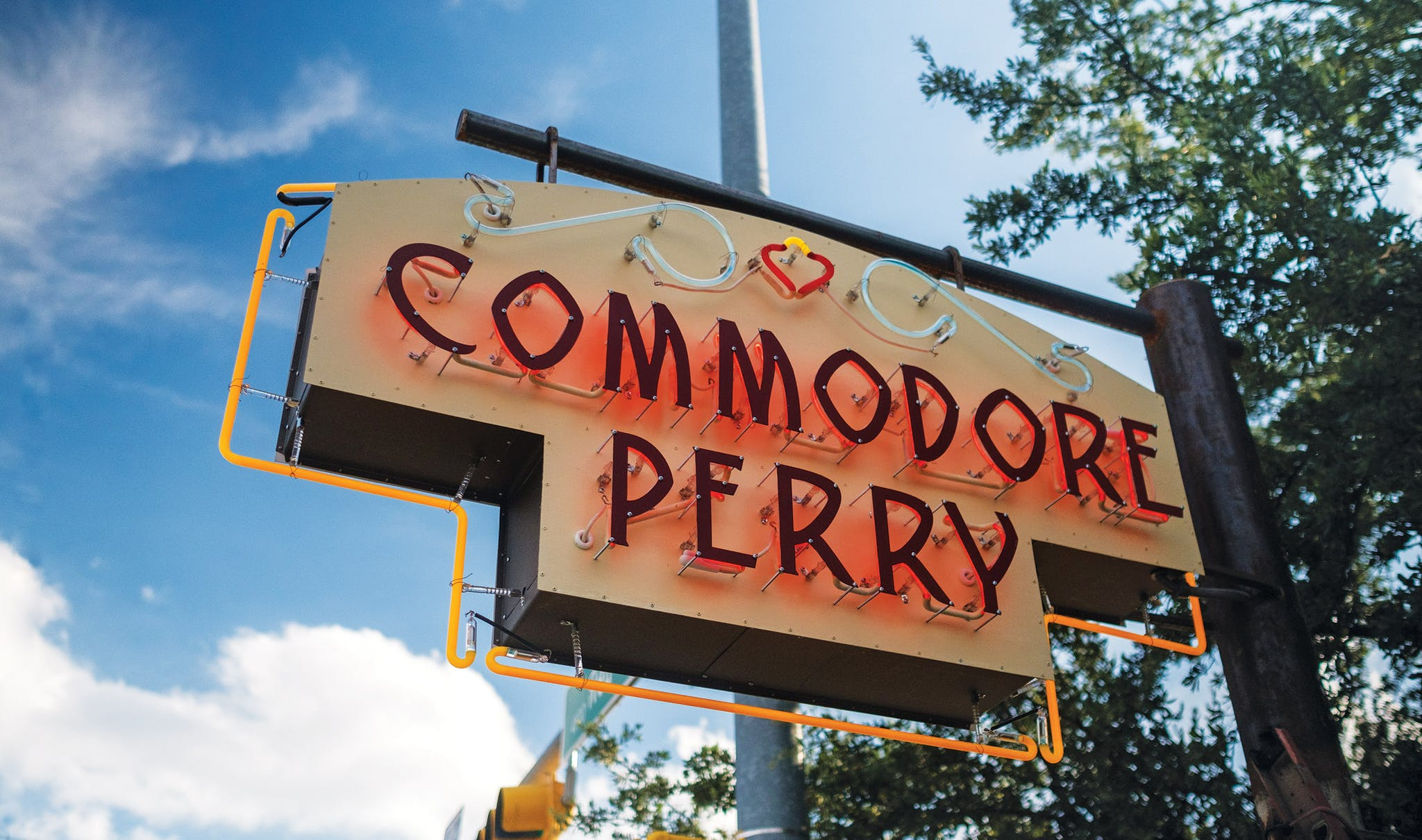 Located on Red River Street, just across the street from a Coffee Bean and a Foot Locker, the Commodore Perry Estate's unassuming entrance belies its grandeur—and size.