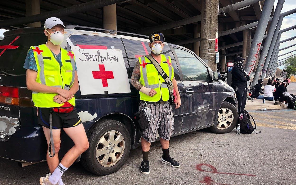 Medic station in Austin protests