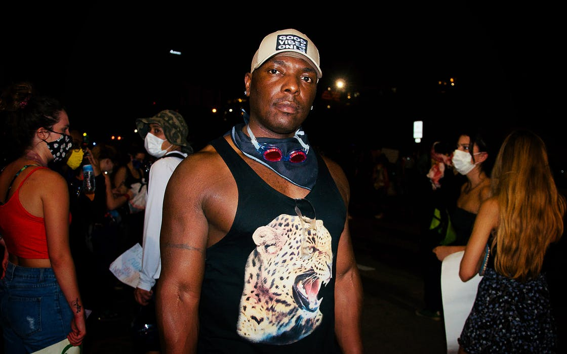military veteran Taye Johnson protesting police brutality on the streets of downtown Austin on June 4, 2020.
