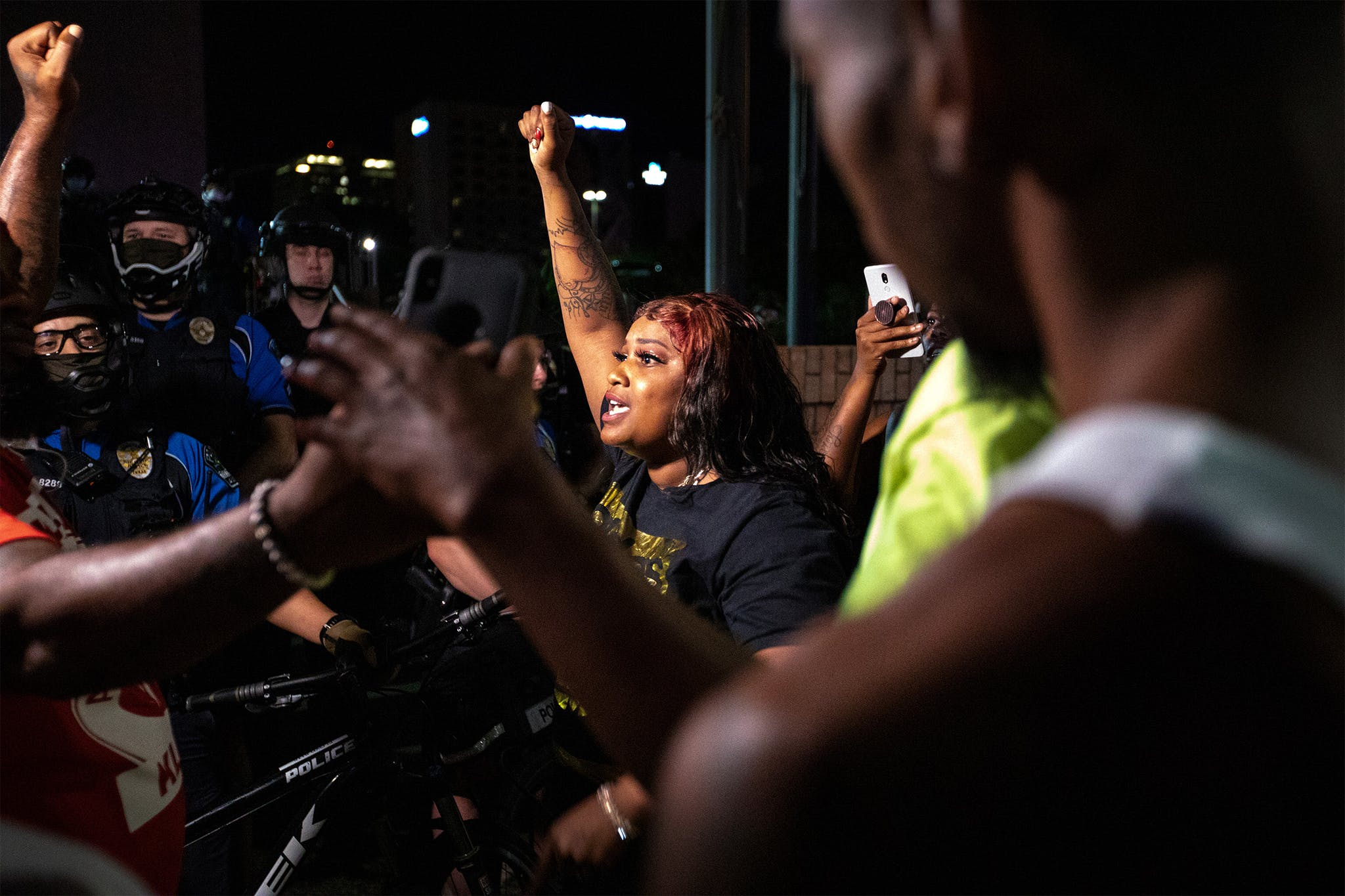 Protesters chant at police headquarters in Austin on May 29, 2020.