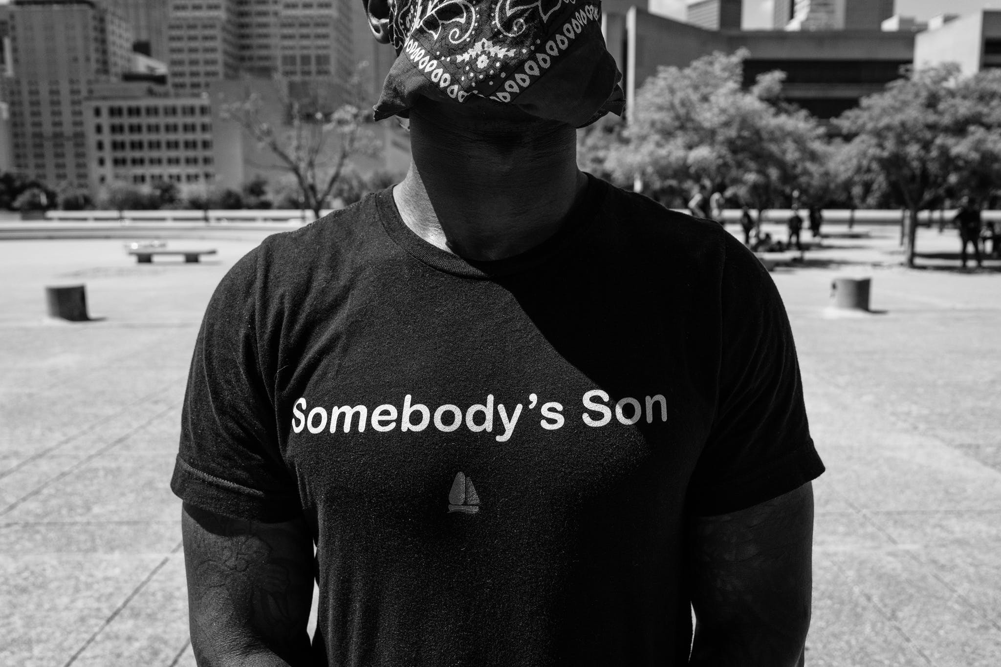 A young man named Sammy B. attends the protest gathering at Dallas City Hall on June 3, 2020.