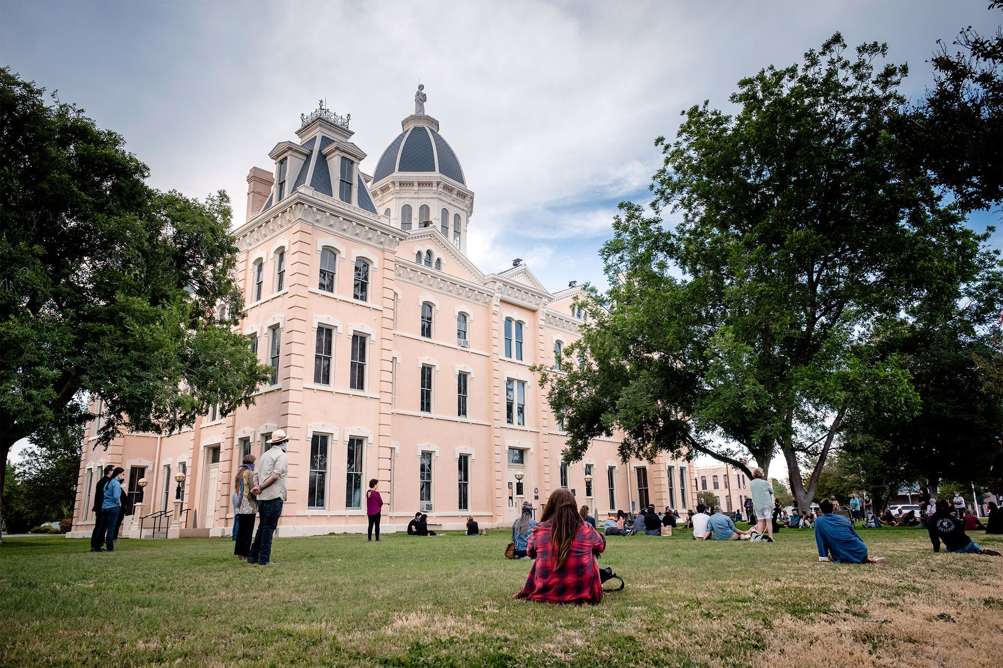 A vigil for George Floyd takes place at the Presidio County Courthouse in Marfa on May 31, 2020.