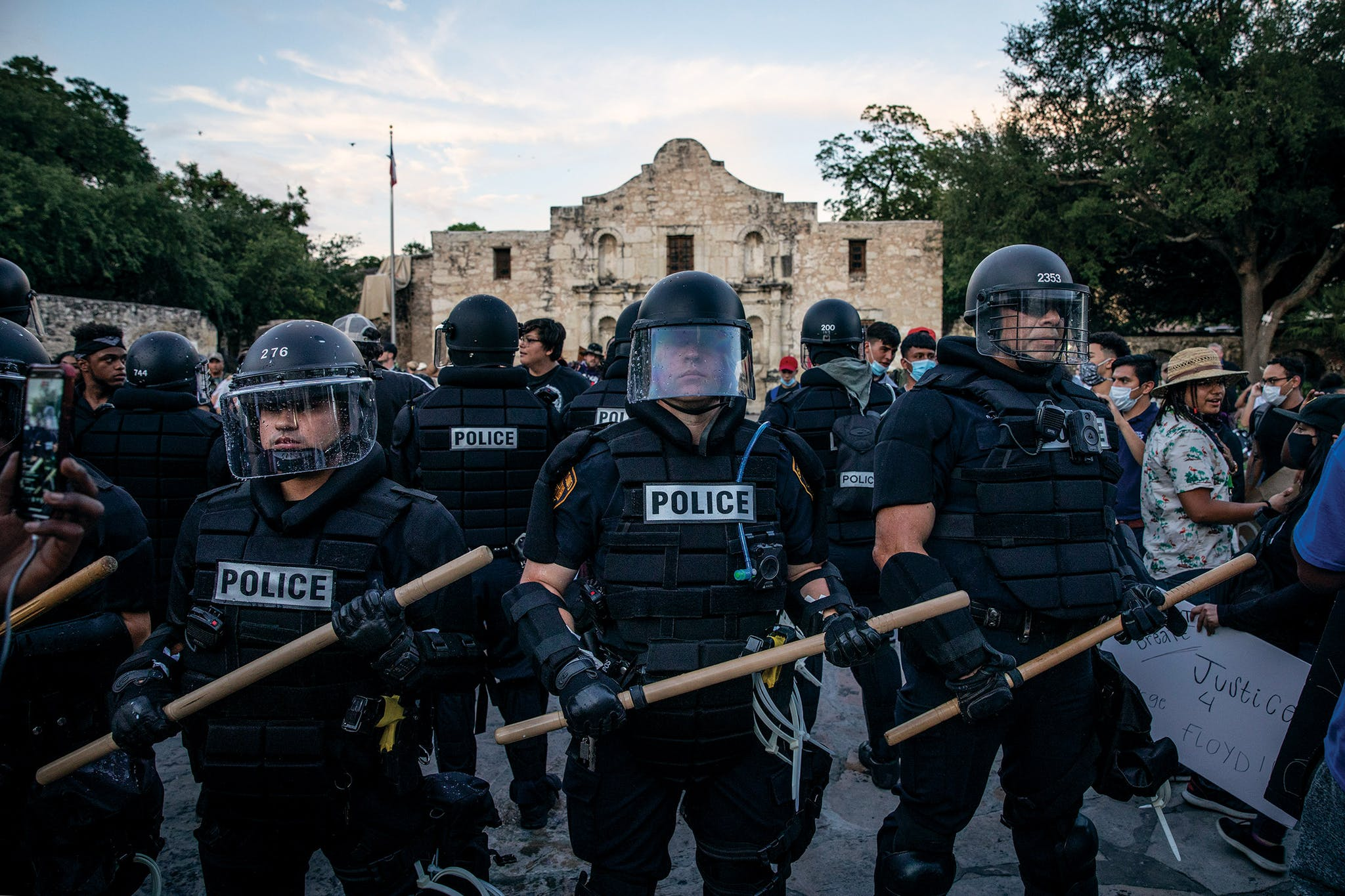 San Antonio Police officers deploy in front of the Alamo in downtown San Antonio on May 30, 2020. People took to the streets of San Antonio to protest the killing of George Floyd in Minnesota just five days earlier.