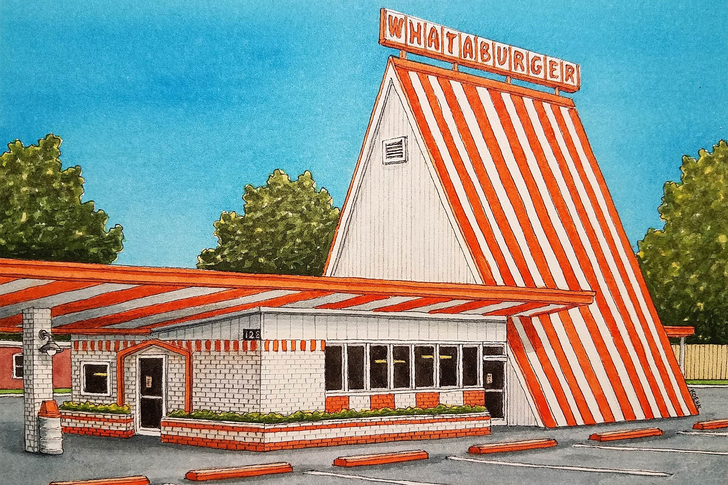 artist-jim-koehn-whataburger-mesquite-texas-watercolor