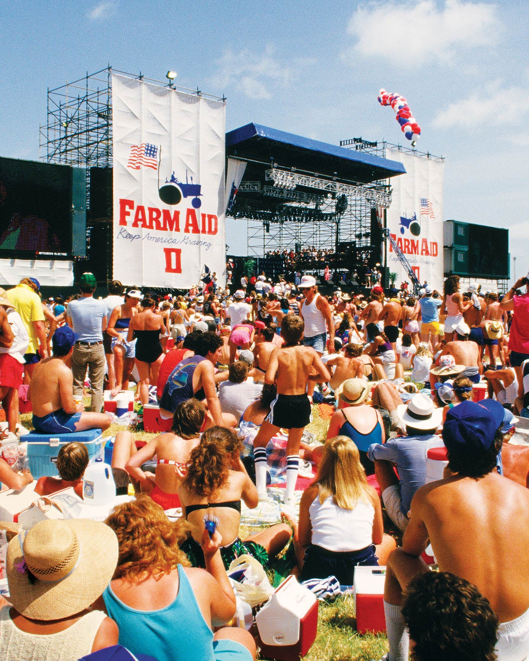 The view from the audience at Farm Aid II, in Manor, Texas, on July 4, 1986.