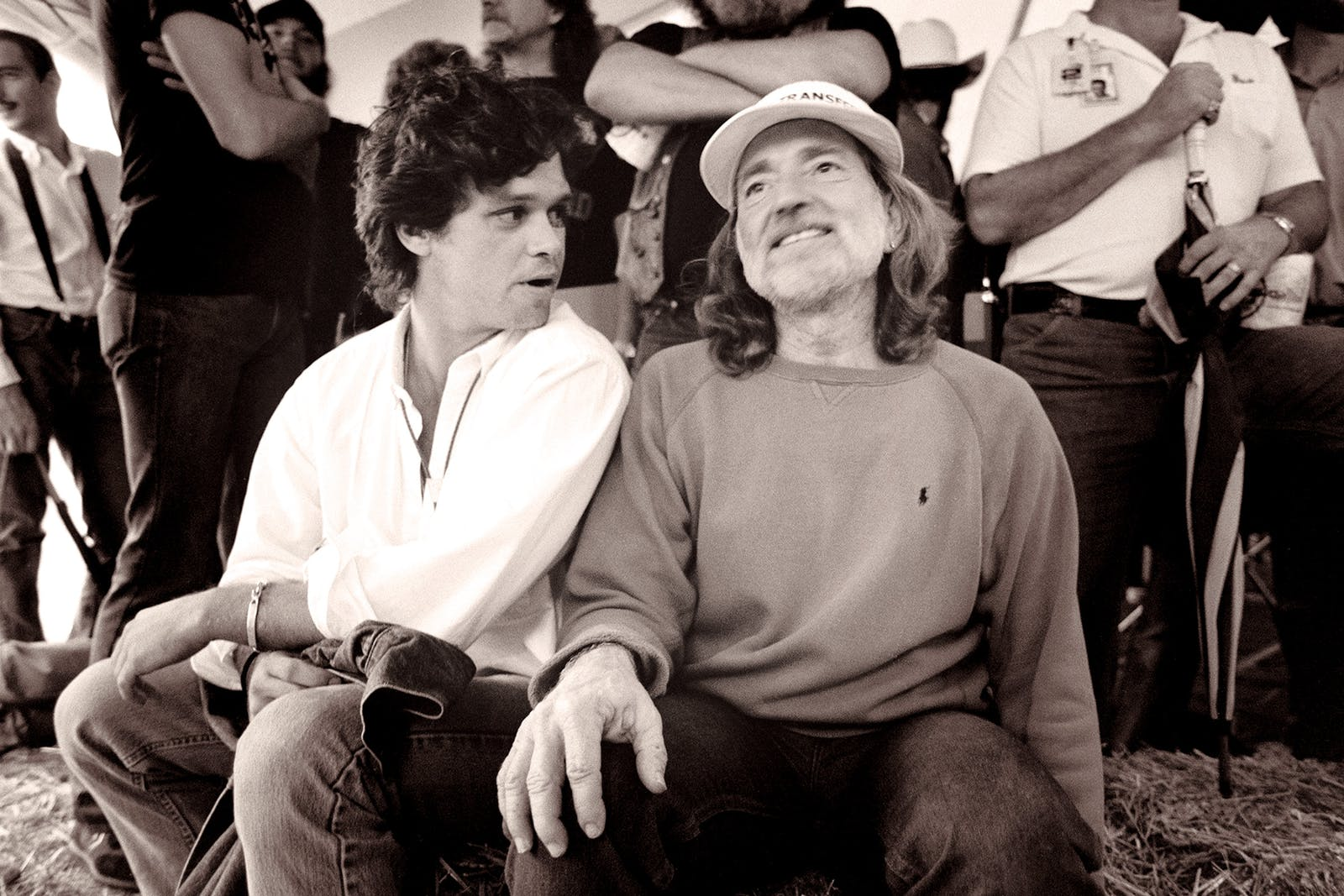 John Mellencamp and Willie Nelson at the first Farm Aid, in Champaign, Illinois, on September 22, 1985.