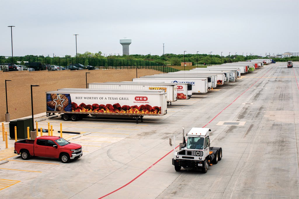 Semitrailers parked outside the Super Regional warehouse.