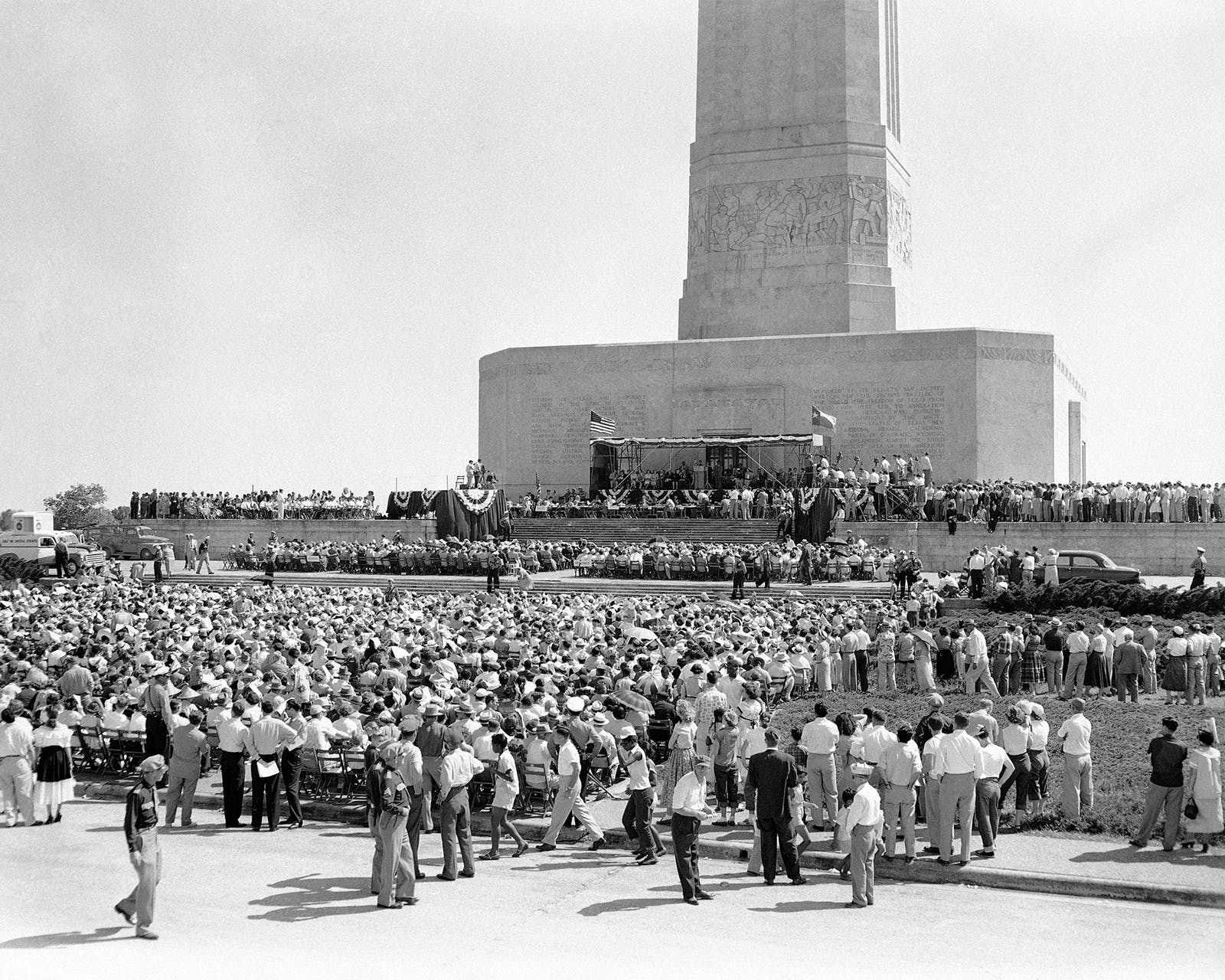 Se. Joseph McCarthy speaks to an estimated crowd of 9,000 in front of the San Jacinto monument in Houston, on April 21, 1954.