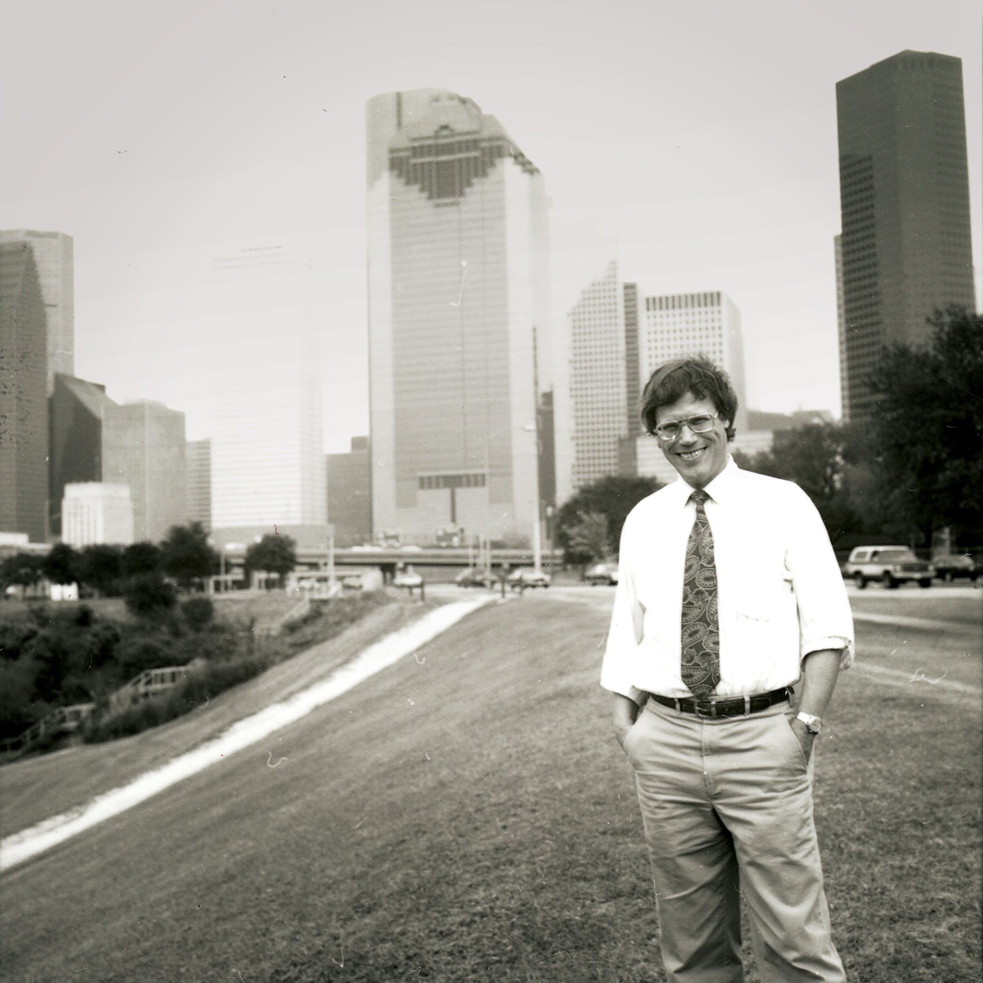 Stephen Klineberg standing by Houston's Buffalo Bayou, circa 1985.
