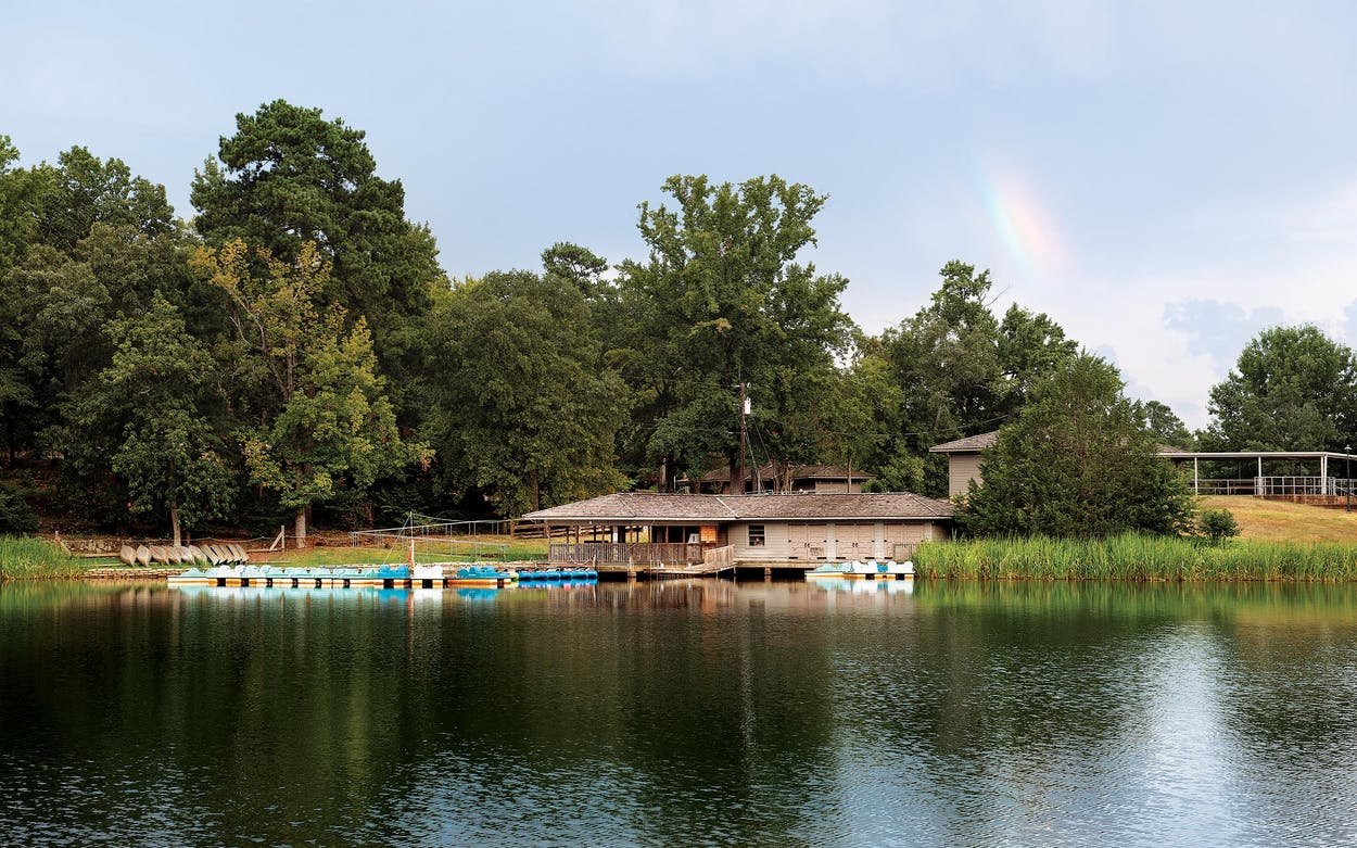 The boathouse on the lake at Tyler State Park in August 2019.