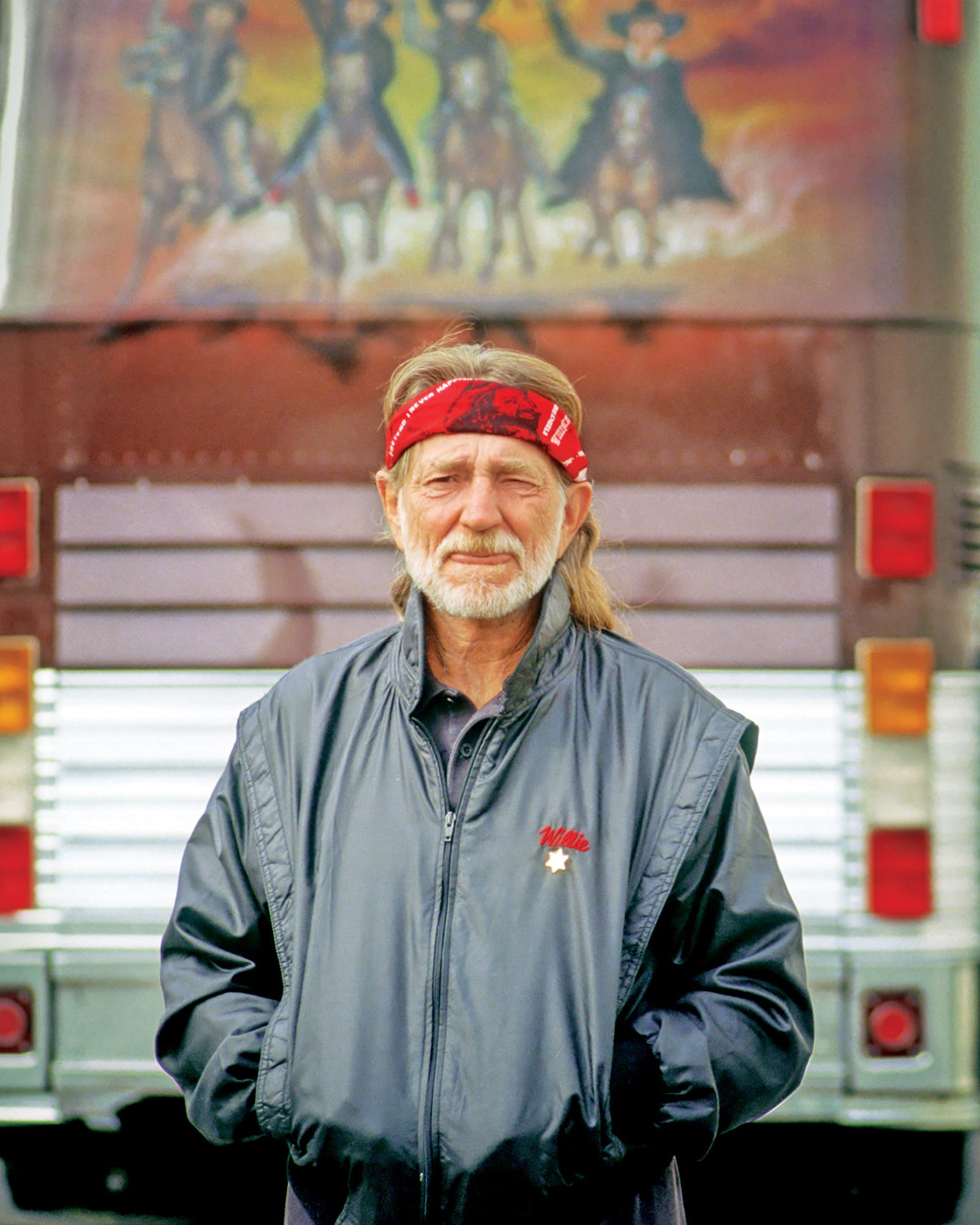 Willie standing by his bus, the Honeysuckle Rose, outside the Mirage Casino in Las Vegas, Nevada, circa 1990.