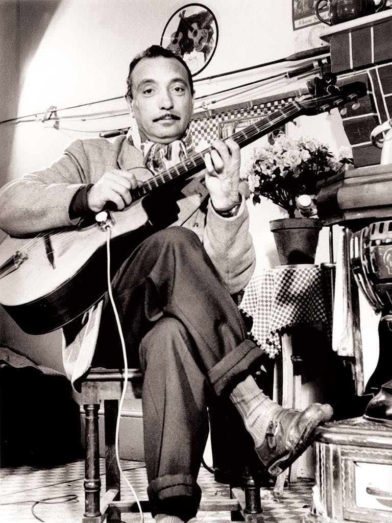 Django Reinhardt in Paris in the late 1940s.