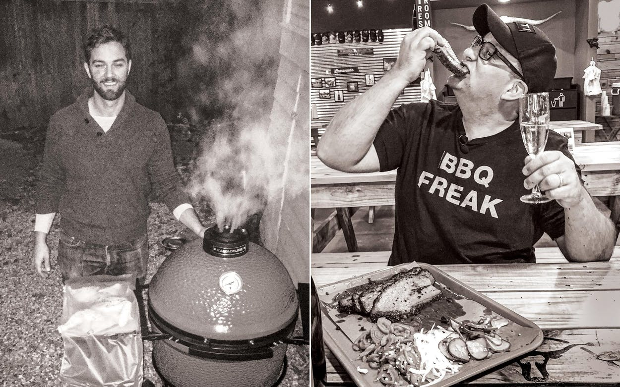 Eric Benson gets ready to smoke a butterflied chicken in his Austin backyard on November 20, 2016; Daniel Vaughn, champagne in hand, scarfs down brisket at Cattleack Barbeque in Dallas, on October 10, 2019.
