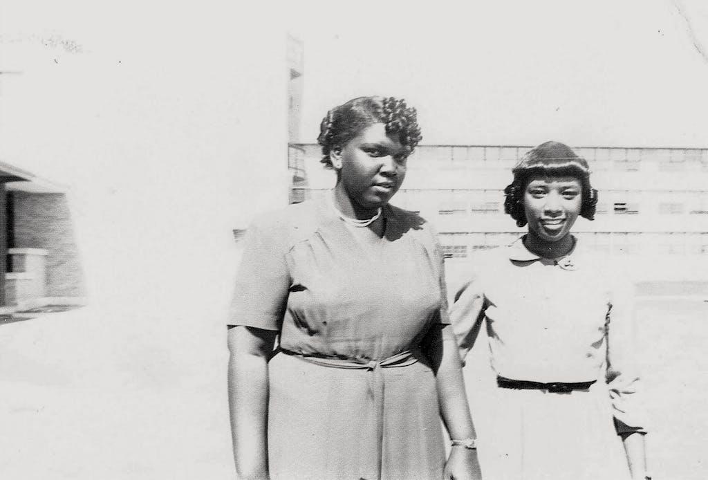 Stephens (right) was debate partners with Barbara Jordan at Phillis Wheatley High School circa 1950.