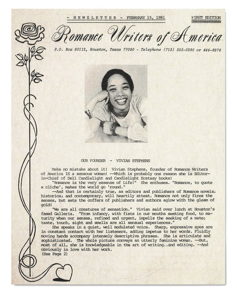 The first newsletter from the Romance Writers of America, featuring Stephens's headshot, published February 15, 1981.