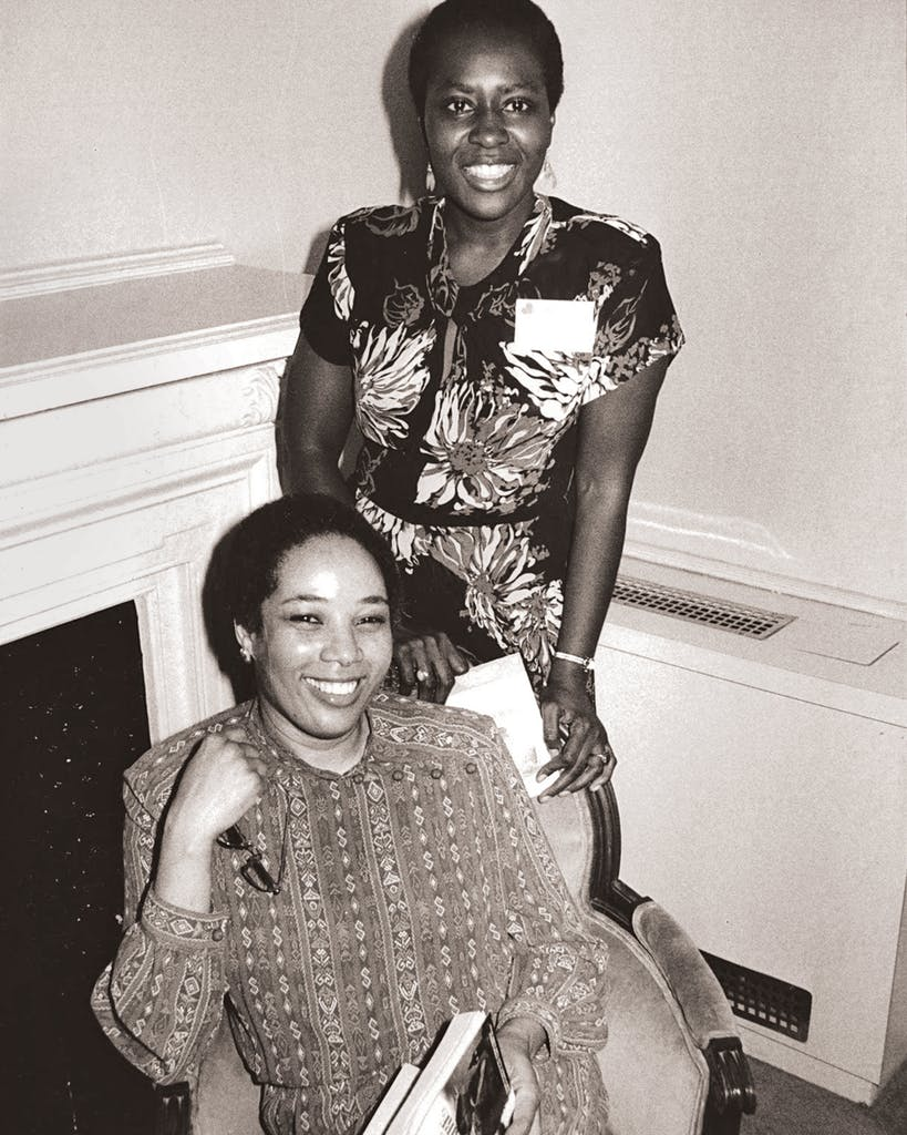 Stephens (seated) with author Elsie B. Washington