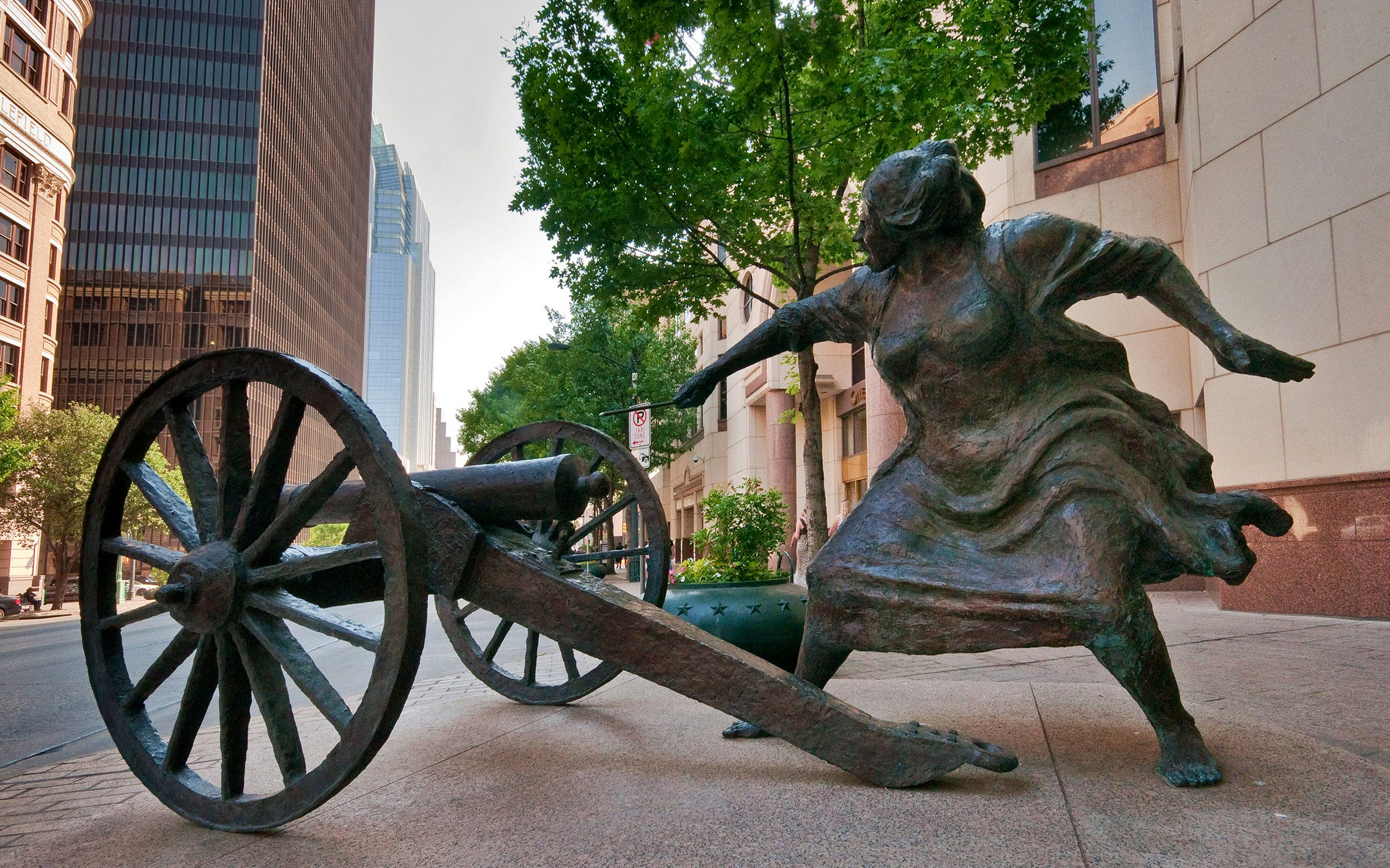 The sculpture of Angelina Eberly, in downtown Austin
