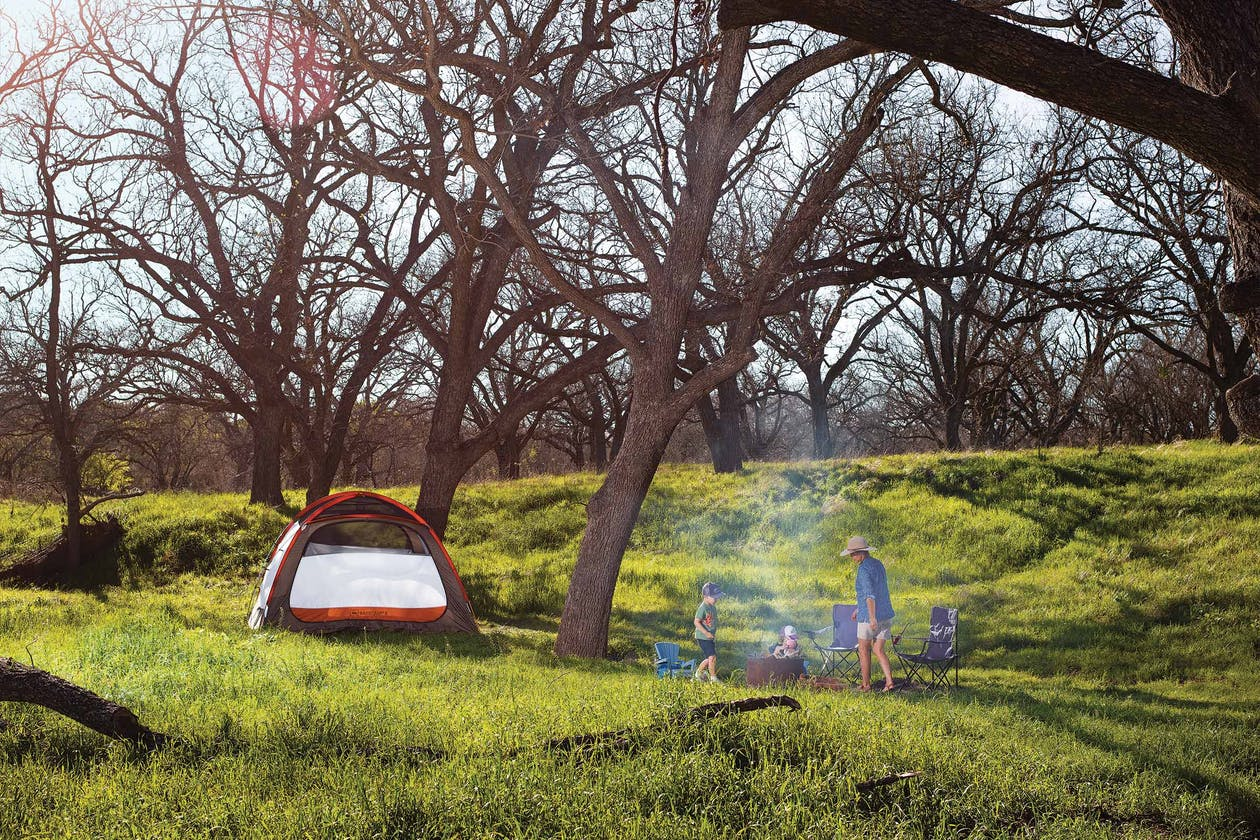A family camps at Low Gear Farmstead, in Menard.