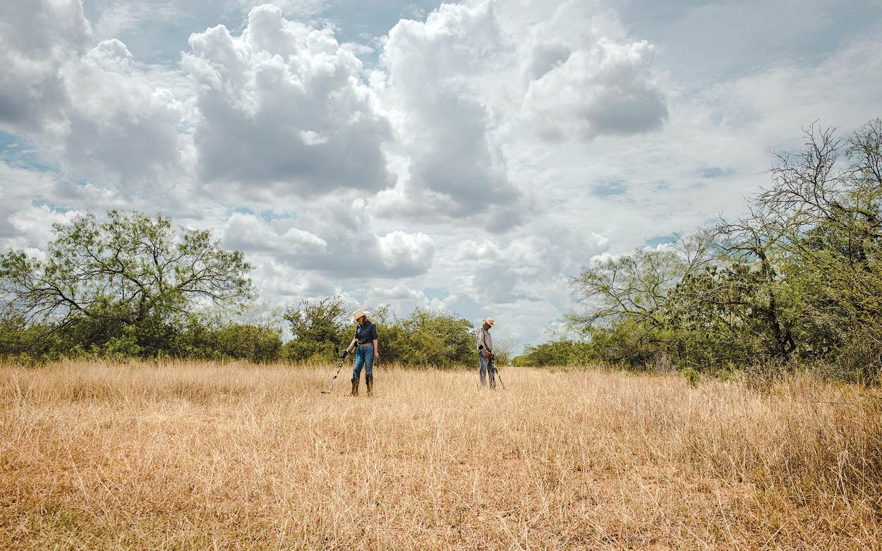 The author and her husband search for relics on their ranch in Hidalgo County.